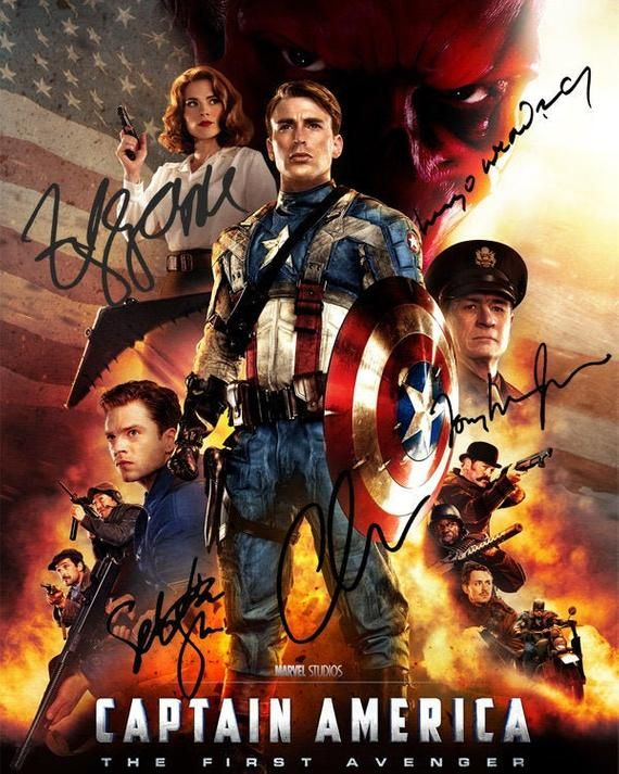 Captain America The First Avenger Chris Evans Hayley Atwell Sebastian Stan Hugo Weaving Movie Cast Signed Photo Autograph Reprint Poster In 2021 Captain America Movie Avengers Poster Captain America Poster