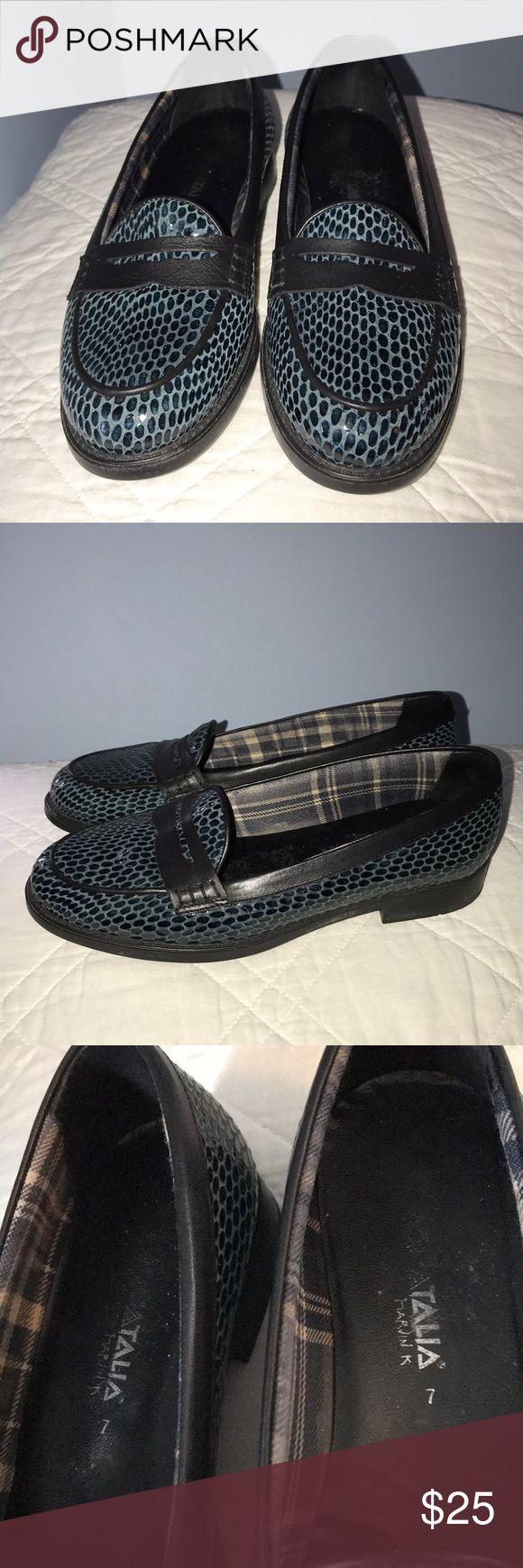 Aquatalia Blue Leather Snakeskin Penny Loafers   Penny ...