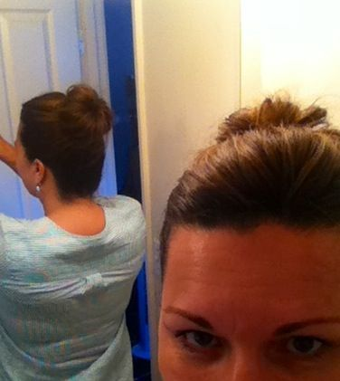 My top knot for lazy hair days–high pony, tease and start swirling and pinning