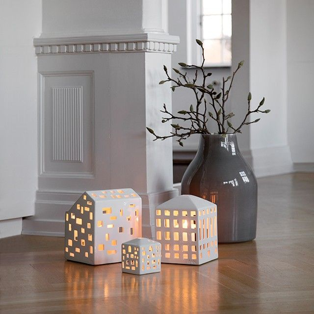 The light sparkles beautifully in the new Urbania light houses that will adorn your hallway, windowsill or floor.