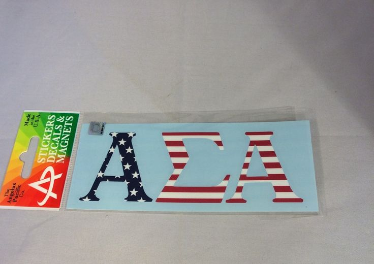Brothers and Sisters' Greek Store - Alpha Sigma Alpha USA Car Letters- American Flag Pattern, $5.99 (http://www.brothersandsistersgreekstore.com/alpha-sigma-alpha-usa-car-letters-american-flag-pattern/)