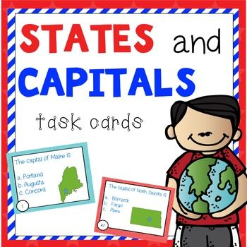 State and capital task cards, color coded by U.S. regions.