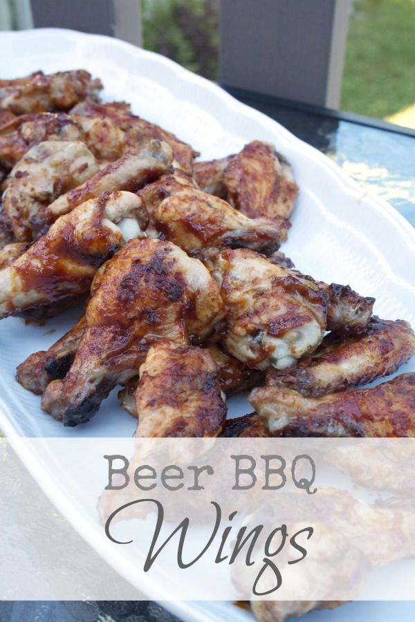 Beer BBQ Wings This is easy game-day food made extra delicious with a beer & molasses #barbecue sauce