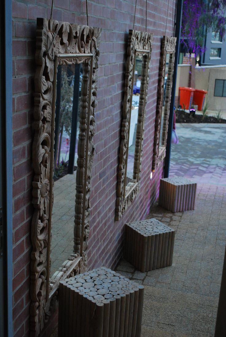 Nishantha Carved wood mirrors