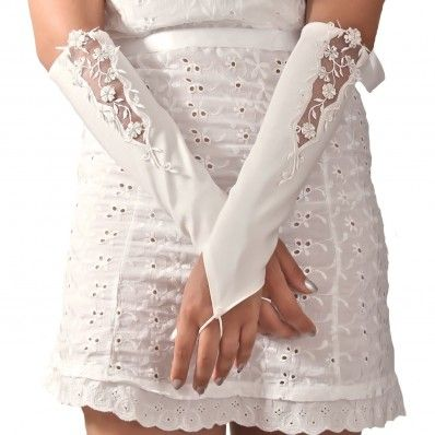 Bridal Embroidered Long Gloves In Satin - Guanti Ricamati Da Sposa Lunghi In Raso