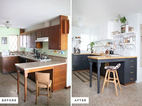 Before and after a stylish diy kitchen makeover on a for Country kitchen remodel on a budget