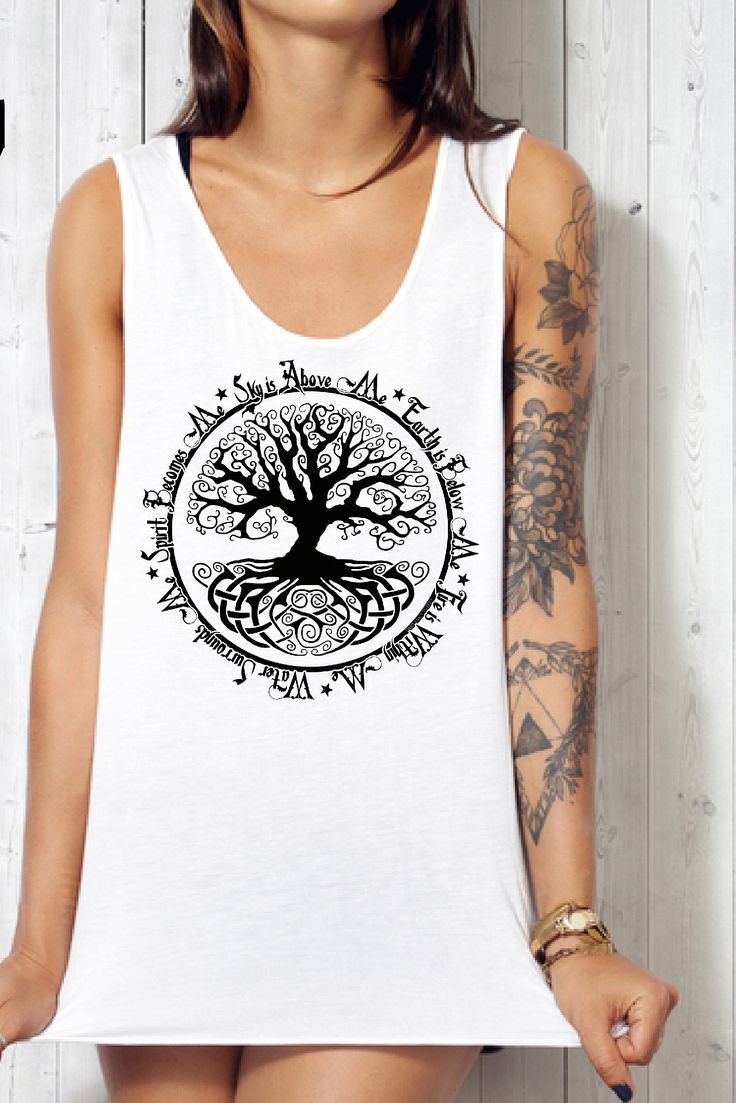 Triple Moon Tees - Find this Tree of Life Womens racerback tank Pagan shirt celebrating the 5 elements in my Etsy Shop!   Pagan Beliefs   Tree of Life Meaning   Wicca for Beginners   Pagan Tank   Pentagram Art   Occult Art   Pagan Shop   #pagan #triplemoontees #treeoflife #5elements