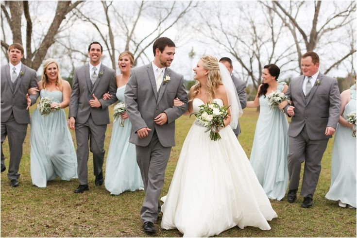 Pale Blue Bridesmaids Dresses, Groomsmen In Grey Suits