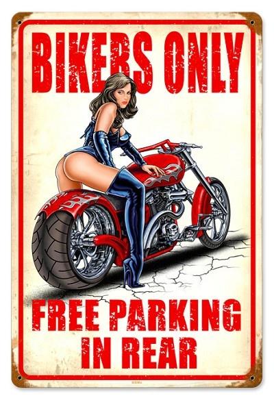 Free Biker Parking 2 Vintage Metal Sign