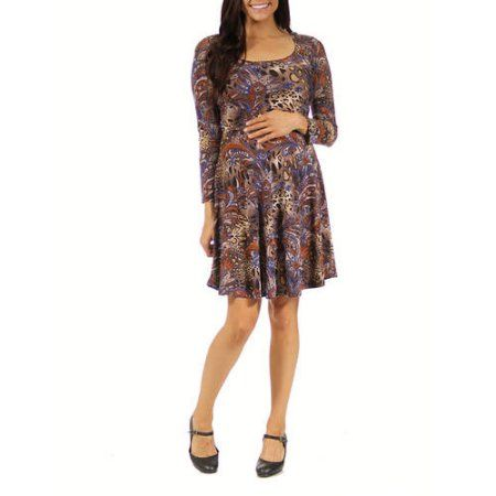 24/7 Comfort Apparel Women's Animal Paisley Print Maternity Dress, Size: Medium
