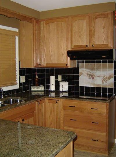 tile backsplash, granite countertop & oak colored ... on Backsplash Black Granite Countertops  id=48830