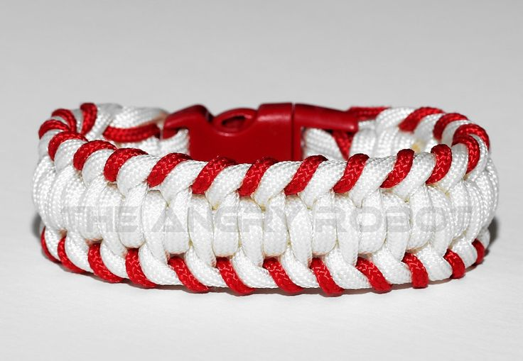 This listing is for one Paracord Bracelet, also known as a survival bracelet. You will receive 1 handcrafted bracelet, made to order in the size you need. These bracelets are made with 7 strand 550 Paracord (Red accent is thinner cord). In an emergency, bracelet can be taken apart so you can use the cord.    Finished band is 1 wide and most bracelets contain 6-10 feet of cord. I also use a curved side release buckle for comfort. Both the paracord and clasps are water/shower safe. All…