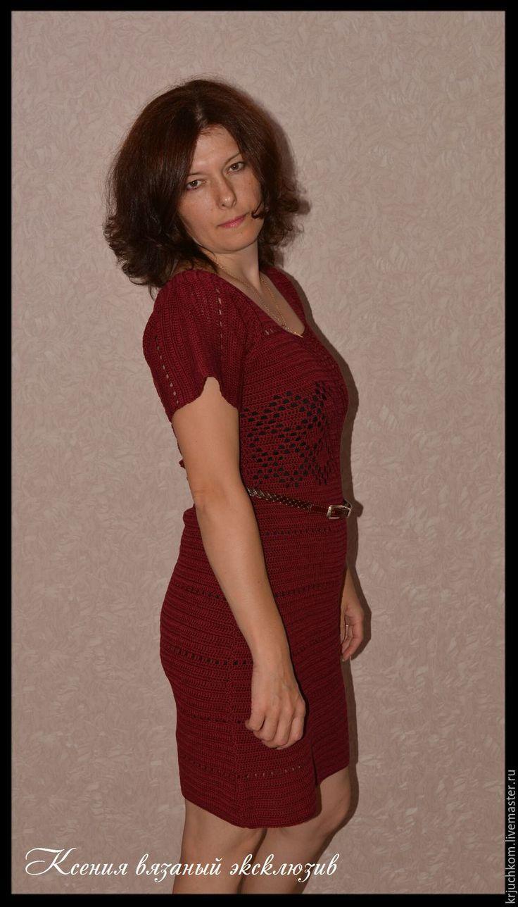 Купить Платье крючком Вишневая настольгия - бордовый, однотонный, вязаное платье, Вязание крючком