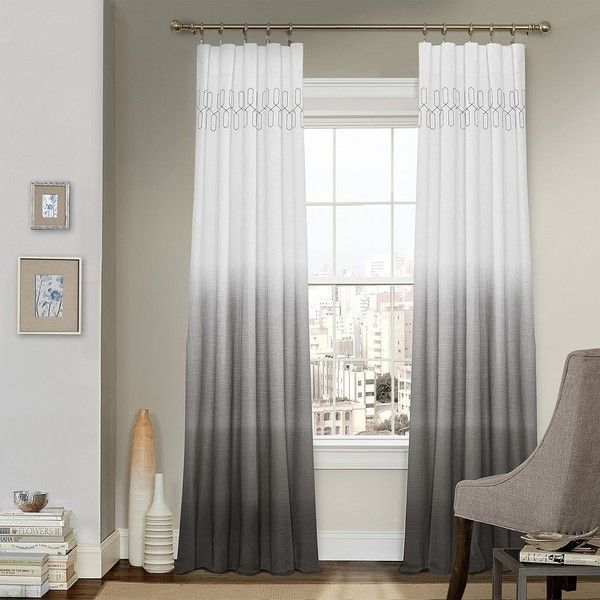 Vue Signature Arashi Ombre Fashion Drapery Curtain, Grey ($65) ❤ liked on Polyvore featuring home, home decor, window treatments, curtains, grey, geometric curtains, window curtains, rod pocket curtains, gray geometric curtains and ombre window panels
