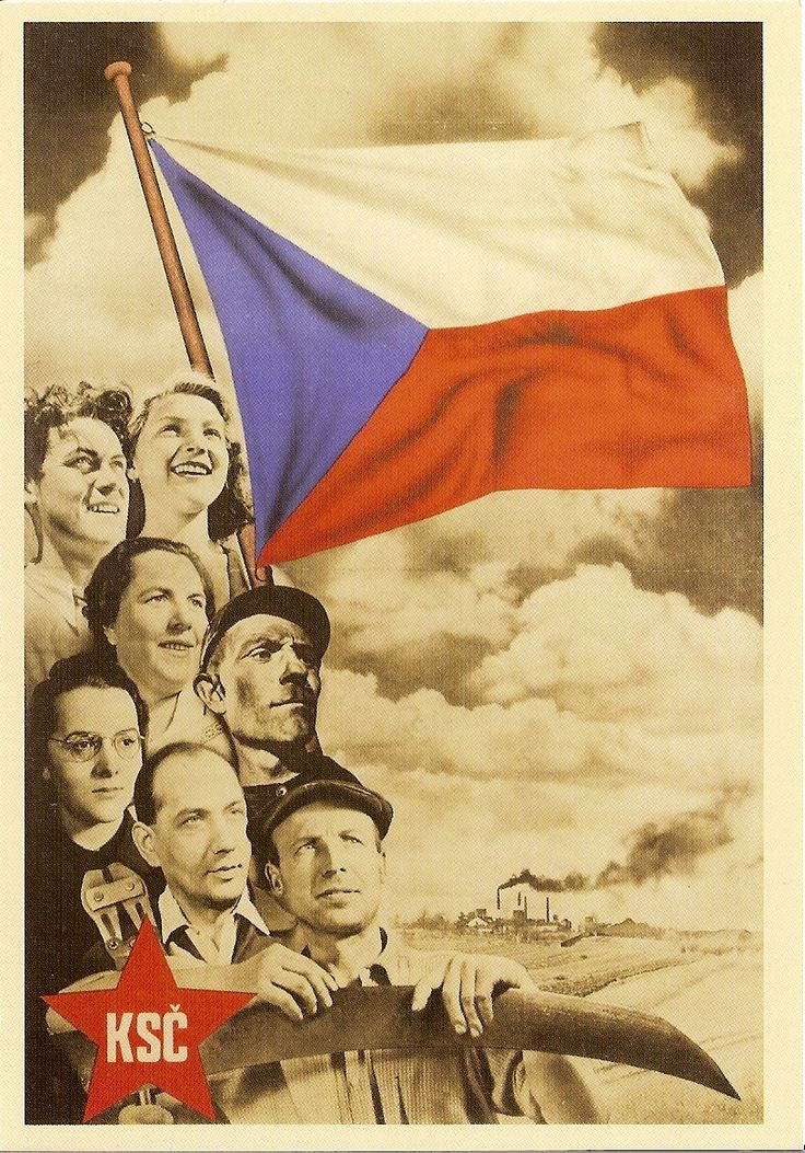 Propagandaposter van de Communistische Partij van Tsjechoslowakije, die na de Tweede Wereldoorlog de enige regerende partij werd. Het land sloot zich aan bij het Warschaupact als bondgenoot van de USSR. Dubcek was lid van de partij, en klom vanaf de jaren 50 gestaag op in het staatsapparaat: in 1955 werd hij lid van het Centraal Comité, het hoogste partijorgaan.