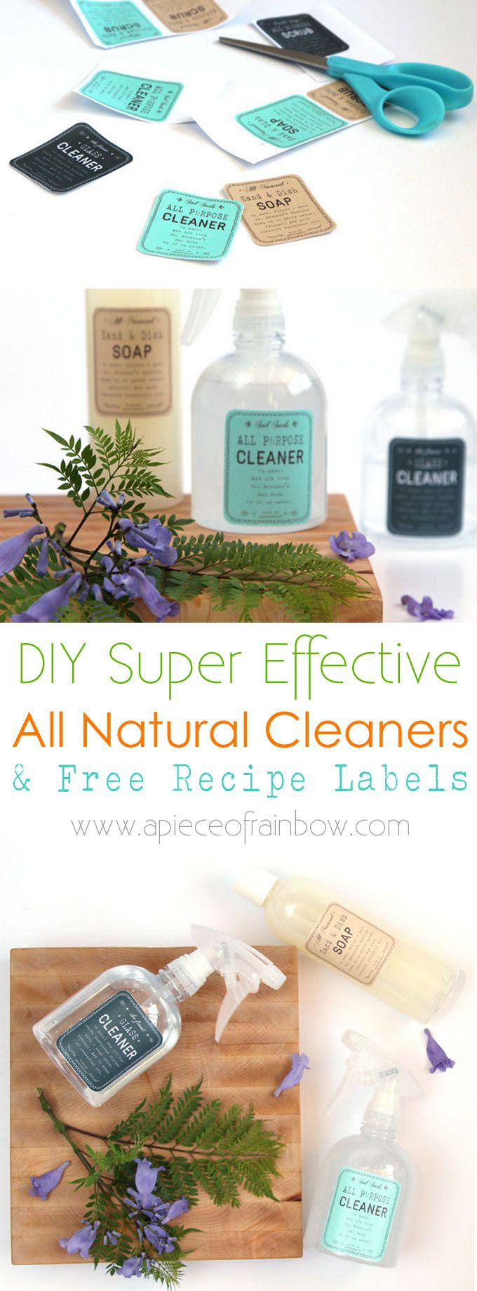 DIY Super Effective Green Cleaning Products and Free Recipe Labels : How to make all natural, super effective & low cost green cleaning products easily. Download free beautiful recipe labels to easily make your own in future! - A Piece Of Rainbow