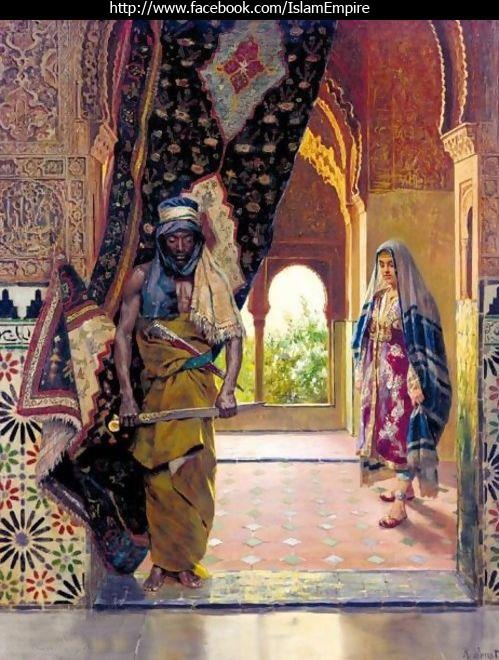 """Rudolf Ernst , """"The Guard of the Harem"""".     The eunuchs in the Ottoman Empire were created mainly at one Coptic monastery, at Abou Gerbe monastery on Mount Ghebel Eter. The Coptic priests sliced the penis and testicles off Nubian or Abyssinian slave boys around the age of eight. During the operation, the Coptic clergyman chained the boys to tables and after slicing their sexual organs off, stuck a piece of bamboo into the genital area, then submerged them in neck high sand to burn"""