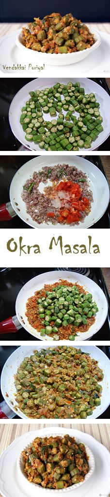 Vendakkai (Okra) Masala - A simple, healthy and delicious side from the South Indian cuisine. Learn how to make the perfect masala without the sliminess of the okra.
