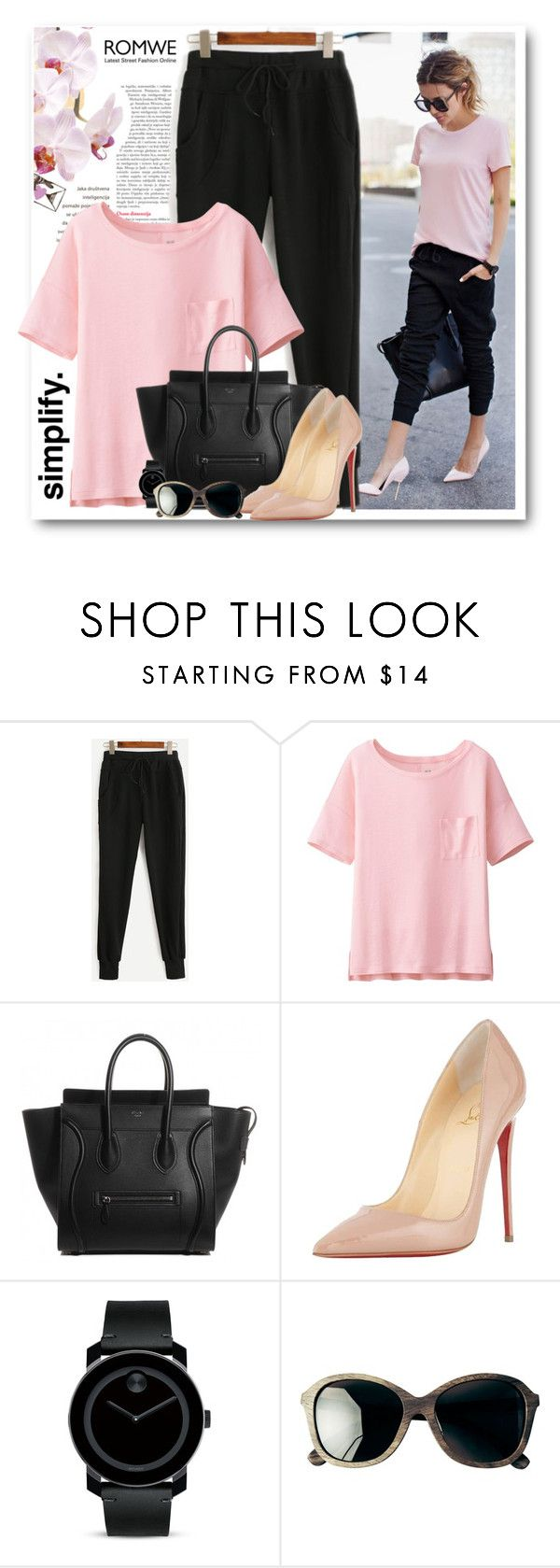"""""""Black Drawstring Waist Pants ROMWE"""" by bmaroso ❤ liked on Polyvore featuring Uniqlo, Christian Louboutin, Movado and Toast"""