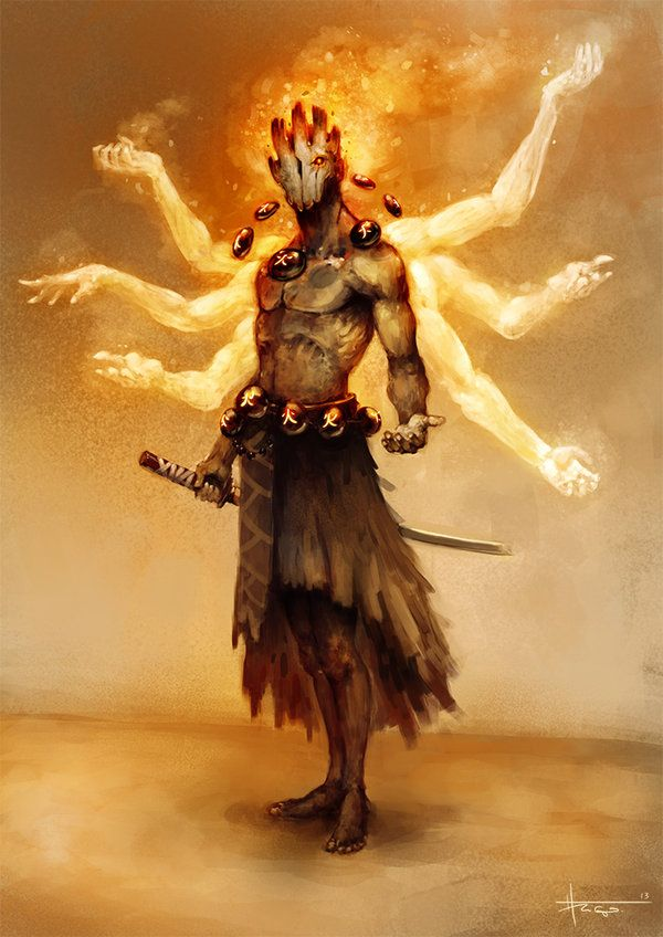 Fire Spirit by *thiago-almeida on deviantART. Potential primitive spellwarrior or variant kensai