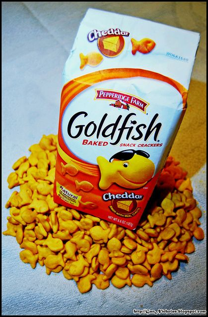 Goldfish crackers!  With 3 kids in the house we always have these in the pantry :)
