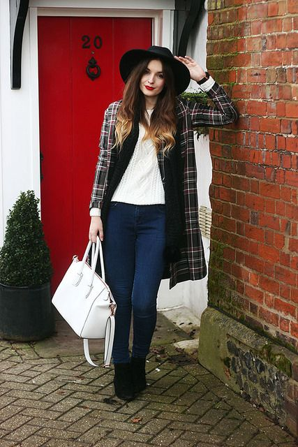 Check Coat Tartan Trend Outfit Fedora Hat by What Olivia Did, via Flickr