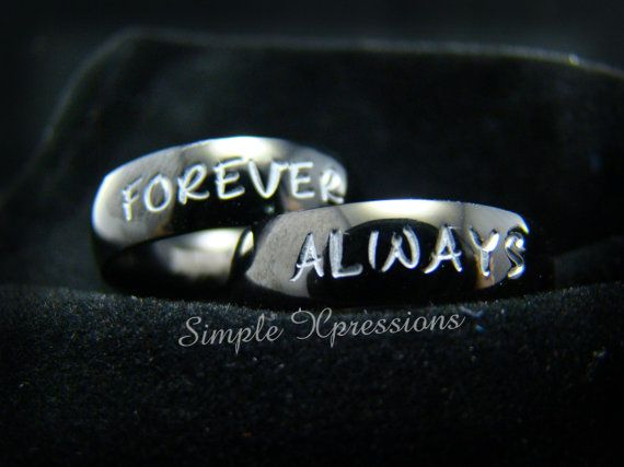 2 Rings - Matching Couples Rings - Polished Black Stainless Steel on Etsy, $50.00