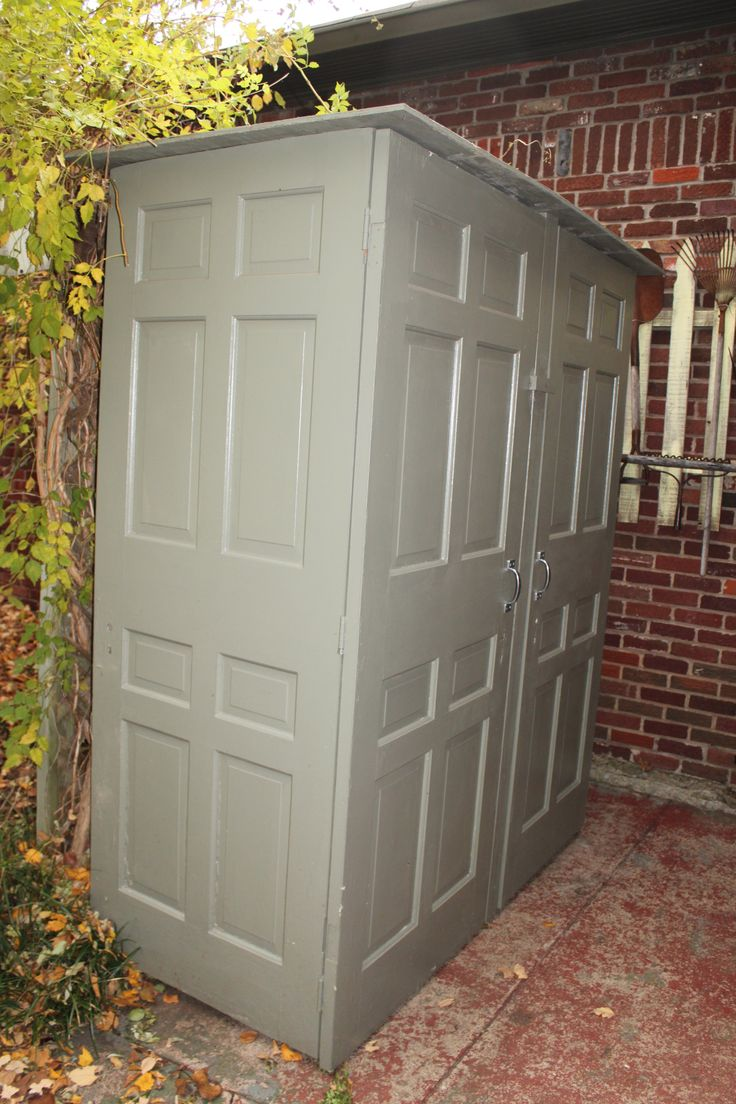 This shed is made out of 6 doors found on the curb.
