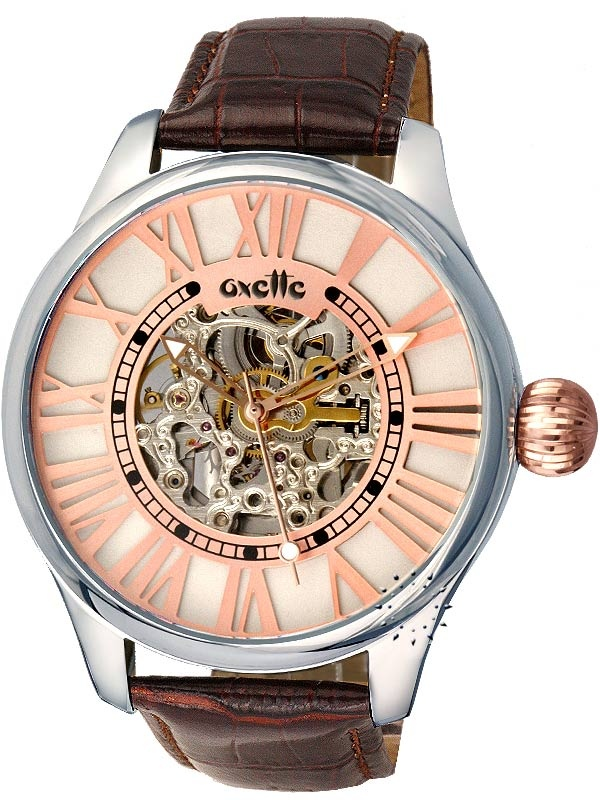 OXETTE Automatic Brown Leather Strap