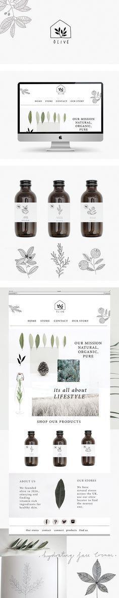 Branding and website for olive skincare by Ryn Frank logo design minimalist icon line drawing illustration packaging bottle