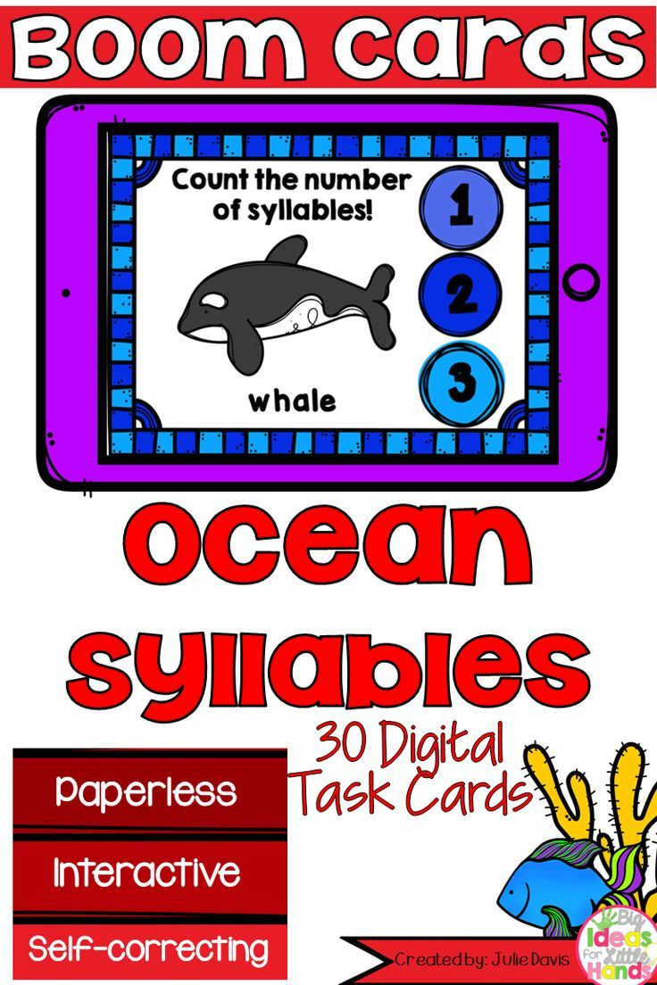 Ocean Animal Syllable Counting Digital Game Boom Cards Distance Learning Ocean Animals Syllable Kindergarten Resources [ 1104 x 736 Pixel ]