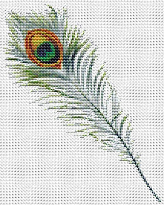 Peacock Feather - Mini Cross Stitch KIT on Etsy, $18.00