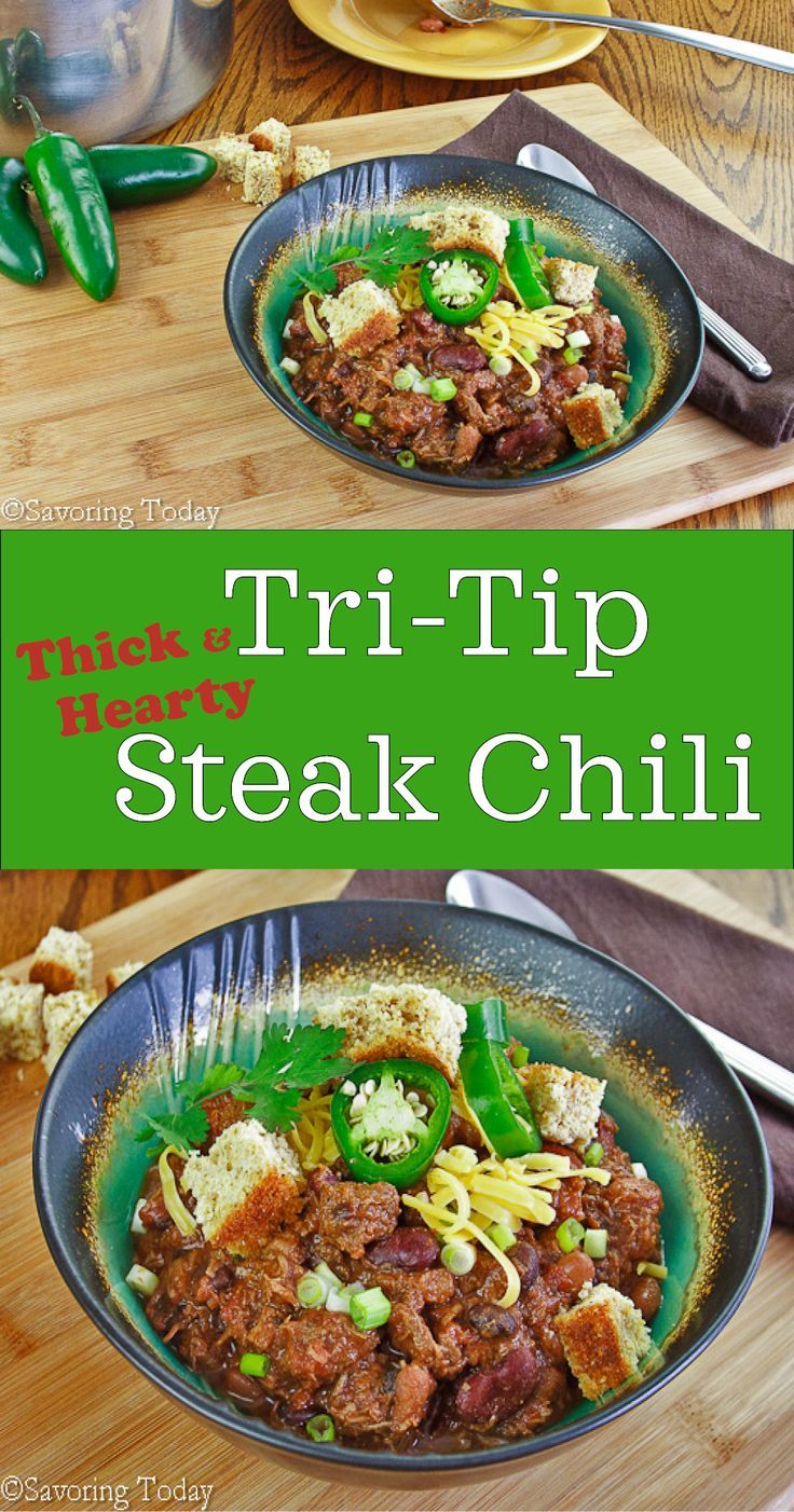 This Tri-Tip Steak Chili Recipe will thrill the meat lovers in your life. Thick and hearty chili for football games, cold winter nights, and casual parties.