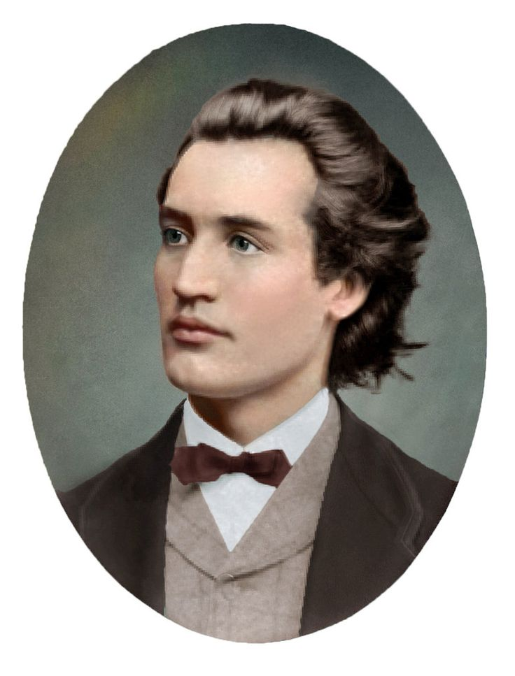 Photographic portrait of Mihai Eminescu (1850--1889); posted by Olga. Mihai Eminescu was a Romantic poet, novelist and journalist, often regarded as the most famous and influential Romanian poet. Info via Wikipedia.