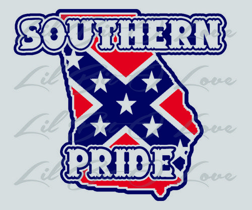 Southern Pride Georgia Rebel Confederate Flag Vinyl Decal Navy and Red | LilBitOLove - Housewares on ArtFire