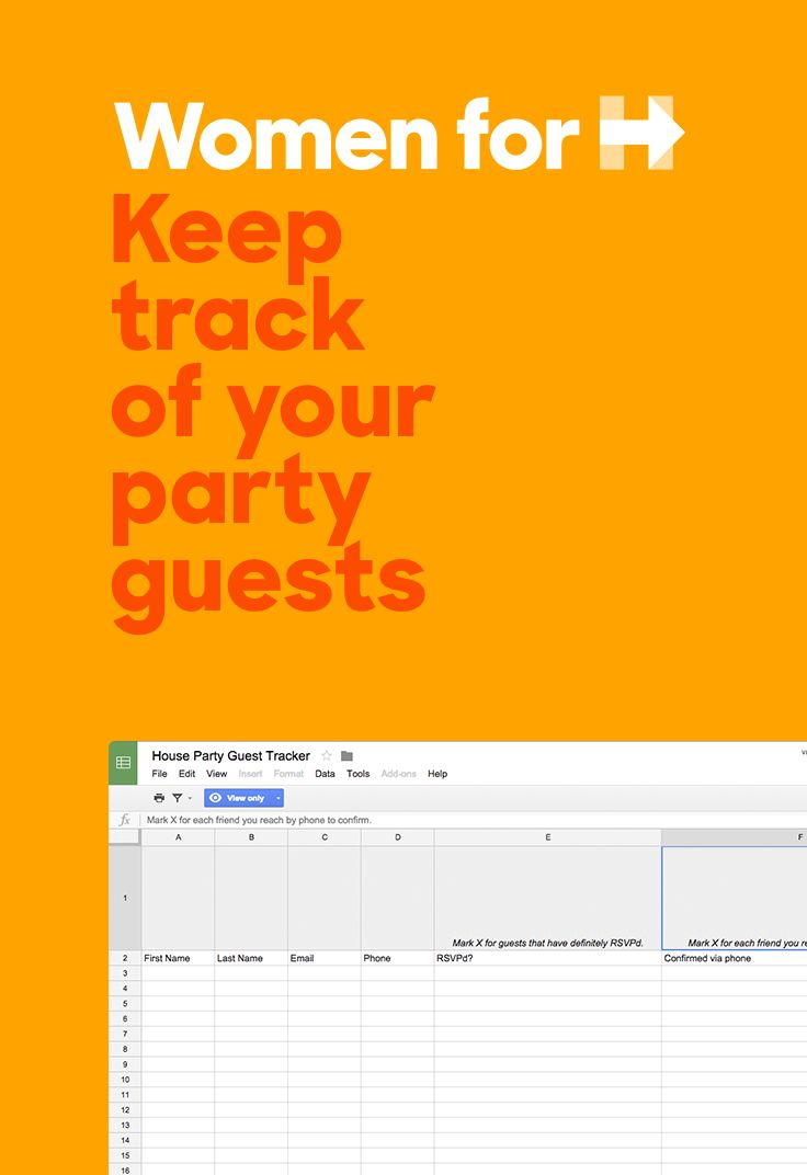 Hosting a Women for Hillary house party? Print out our handy guest tracker Excel spreadsheet to organize all your RSVPs.