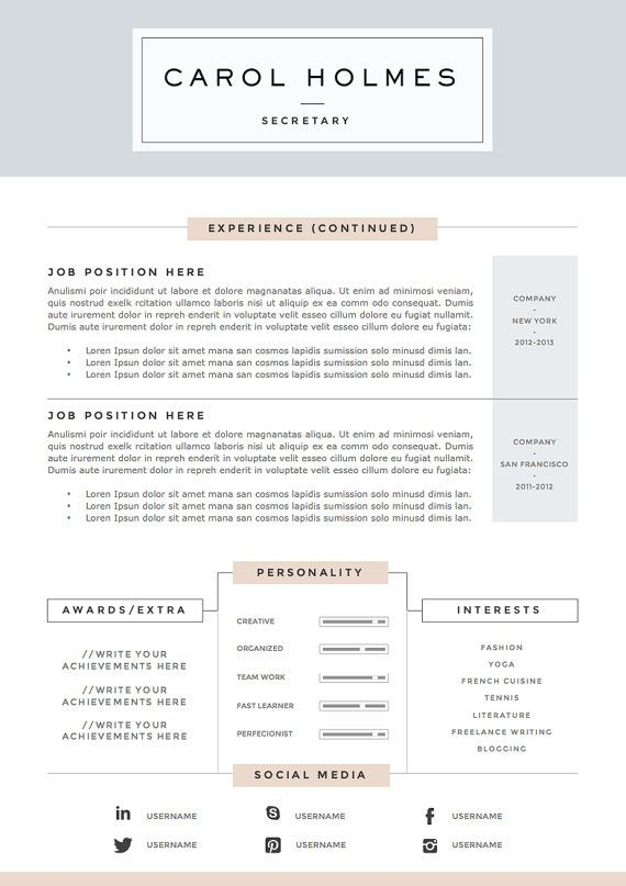 4 page resume template and cover letter par theresumeboutique - Cover Letter And Resume Examples
