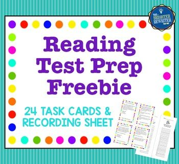 Reading Test Prep Task Cards will help your students practice their reading skills and prep for their state reading tests. This free set of 24 cards features 3 task cards each for author's purpose, cause and effect, character traits, compare and contrast, details, inferences, main idea, and word meanings.