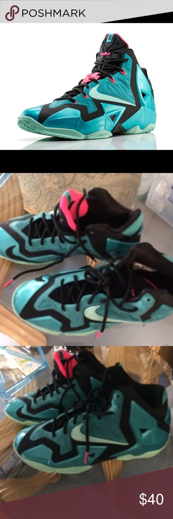 Nike Lebron 11 South Beach Good condition. No box. No bad odors, rips or decoloration. Nike Shoes Athletic Shoes