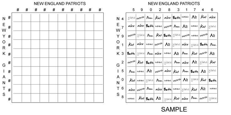 100 Square Football Board | 100 Square Football Board Template2 92 ...