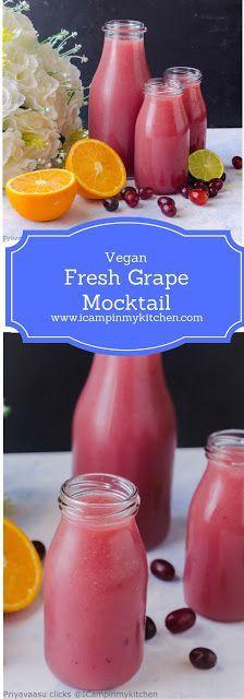 Fresh Grape Mocktail - Summer Cooler, Zero Sugar Mixed fruit juic