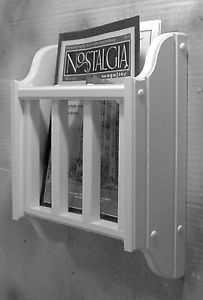 Wall Mounted Magazine Rack For Bathroom White Literature Holder Mount Jlj