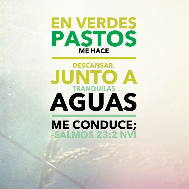 Salmo 23:1-2  En lugares de delicados pastos me hará descansar; Junto a aguas de reposo me pastoreará.  Confortará mi alma; Me guiará por sendas de justicia por amor de su nombre.