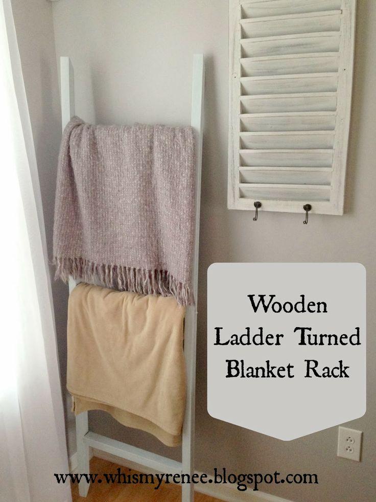 Whimsy Renee: Wooden Ladder Turned Blanket Rack