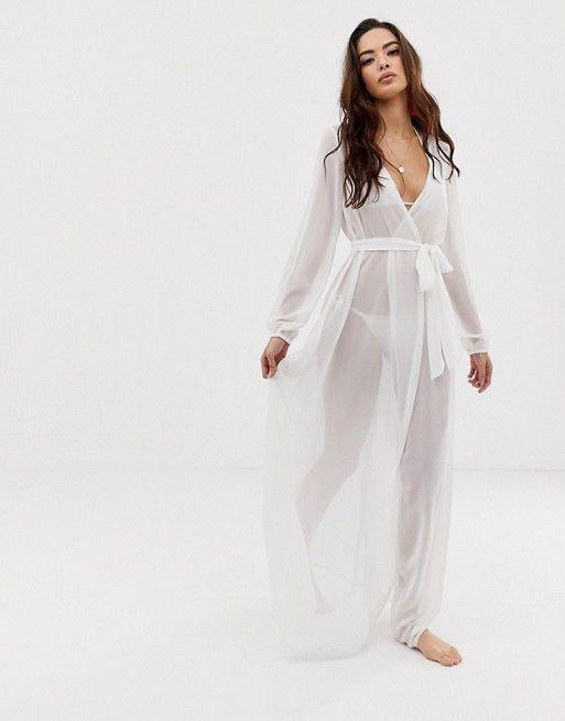 c61ba9409d97a DESIGN recycled long sleeve wrap tie chiffon maxi beach kimono in white in  2019 | Honeymoon | Beach kimono, Chiffon maxi, Dresses