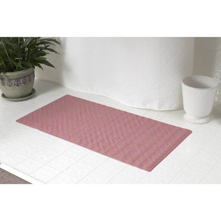 carnation home fashions rubber shower mat rose tmdsm28 - Teak Shower Mat