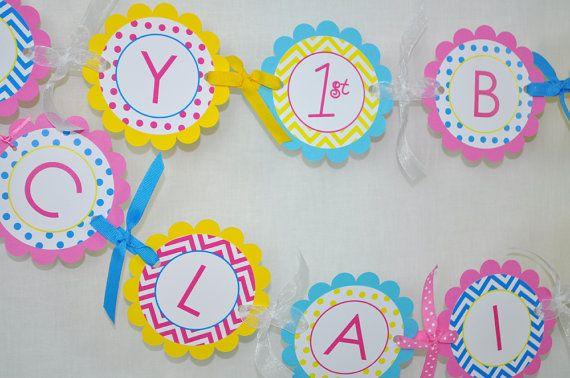Girls Birthday Banner - Chevron Birthday Decorations with Polkadots - Teal, Pink, Yellow on Etsy, $35.00