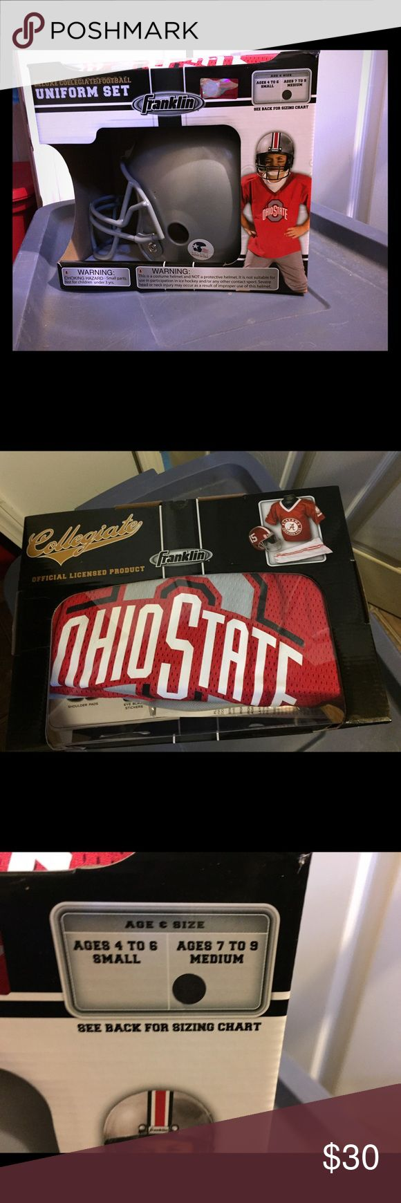 Boys Ohio State football uniform Boys Ohio State University football uniform, new never opened. Includes helmet, jersey, and football pants, size 6/7 M Costumes Seasonal