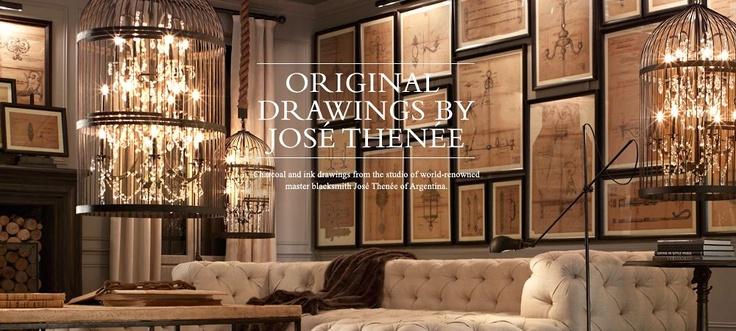 my dream.Lights, Wall Art, Birds Cages, Restoration Hardware, Livingroom, Birdcages, Living Room, Restorationhardware, Gallery Wall