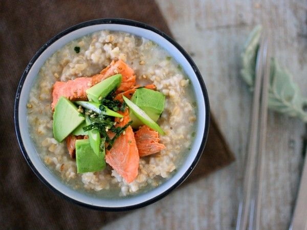 savory-oatmeal-greentea-salmon-avocado